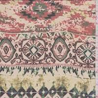 Beige/Red Aztec Print Chiffon