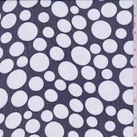 Dark Navy/White Polka Dot Crinkled Chiffon