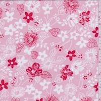 Pink Floral Sketch Print Cotton Lawn
