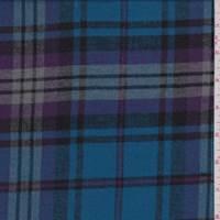 Aqua Blue/Purple Plaid Flannel