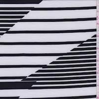 White/Black Altered Stripe Jersey Knit