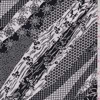 Black/Ivory Wave Stripe Rayon Challis