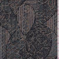 Black/Tan Multi Patchwork Floral Rayon Challis