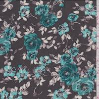 Deep Taupe/Turquoise Floral Rayon Challis