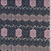 Black/Pink Geometric Print Rayon Challis