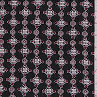 Black/Red Medallion Rayon Challis
