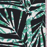*3 1/8 YD PC--Black/Jade Palm Frond Print Georgette