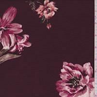 Maroon Floral Hammered Crepe