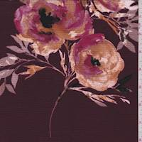 Burgundy Floral Hammered Crepe