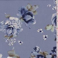 Wedgewood Blue Floral Hammered Crepe