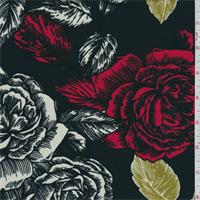 *2 1/2 YD PC--Black/White/Red Floral Print Rayon Jersey Knit
