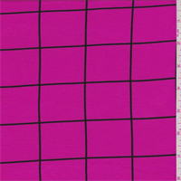 *2 1/4 YD PC--Hot Pink/Black Window Pane Check Tencel Jersey Knit