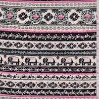 Cream/Black/Pink Elephant Stripe Rayon Challis