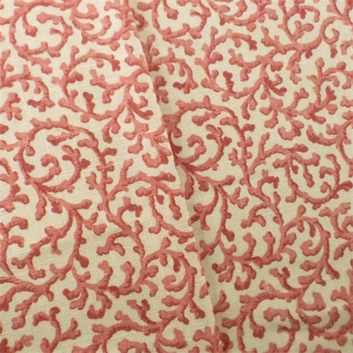 Ivory Coral Pink Waverly Savoy Print Home Decorating Fabric