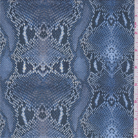*3 1/2 YD PC--Sky Blue Snakeskin Print Polyester Crepe