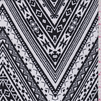 *4 5/8 YD PC--White/Black Decorative Zig Zag Jersey Knit