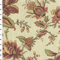 *12 YD PC--Multicolor Printed Floral Vintage Linen Home Decorating Fabric