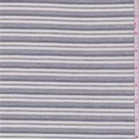 *2 3/8 YD PC--Grey/Ivory Stripe French Terry Knit