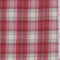*3 3/8 YD PC--Pale Red/Ivory Plaid Shirting