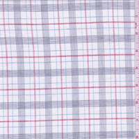 *3 3/8 YD PC--White/Red/Blue Plaid Shirting