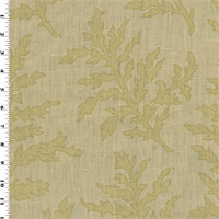 *12 YD PC--Beige/Green Branches Motif Print Vintage Linen Home Decorating Fabric