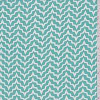 Aqua/White Abstract Chevron Georgette