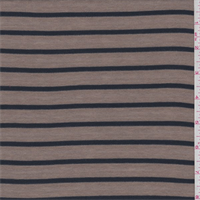 *3 YD PC--Taupe/Navy Stripe Ribbed Jersey Knit