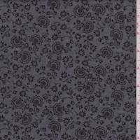 Heather Black Stylized Floral Chambray
