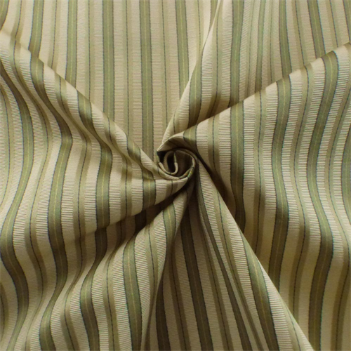Ivory Sage Green Stripe Rib Satin Home Decorating Fabric