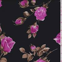 Black/Pink Floral Antique Satin