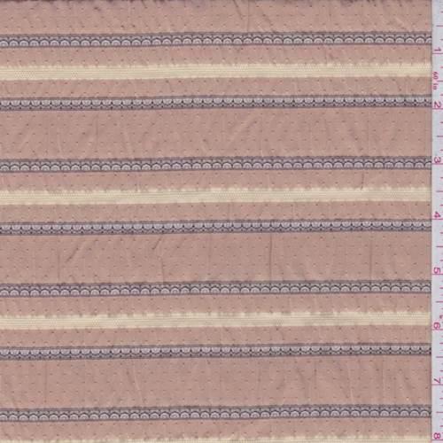 Rust Orange Scalloped Stripe Seersucker Fabric By The Yard