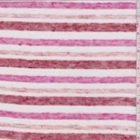 Pink/Red/White Stripe Slubbed Sweater Knit