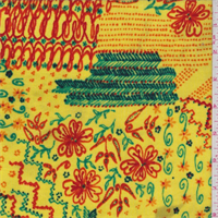 *7/8 YD PC--Lemon Yellow Multi Floral Stretch Slinky