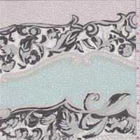 *1 YD PC--Rose/Spa Blue Floral Wave Silk Chiffon