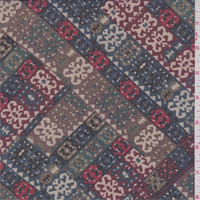 *4 1/4 YD PC--Brown/Mulberry Multi Tile Polyester Chiffon