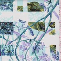 *2 1/2 YD PC--Spa Blue/White Plaid Floral Stretch Twill