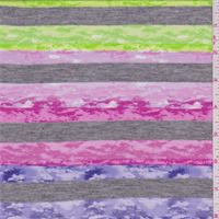 *3 1/4 YD PC--Pink/Lime/Purple Marble Stripe T-Shirt Knit