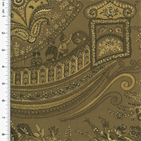 *6 YD PC - Designer Cotton Brown/Beige Paisley Ship Print Home Decorating Fabric