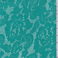 *1 YD PC--Aqua Green Floral Stretch Lace