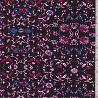 *1 5/8 YD PC--Black/Fuchsia Floral Rayon Challis