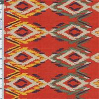 *4 1/4 YD PC--Red/Orange Southwest Diamond Print Peached Stretch Poly Knit