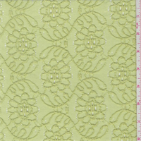 *1 3/8 YD PC--Citrus Green Embroidered Stretch Lace