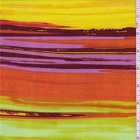 *3 YD PC--ITY Gold/Mauve/Orange Stripe Jersey Knit