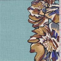 *5 YD PC--Aqua Confetti Floral Stripe Crepe de Chine