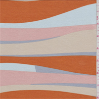 *3 YD PC--Orange/Blue/Pink Wave Print Rayon Jersey Knit