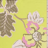 *2 1/2 YD PC--Citrus Yellow Floral Stretch Sateen