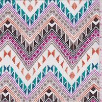 *3 3/4 YD PC--White Multi Zig Zag Print Rayon Jersey Knit