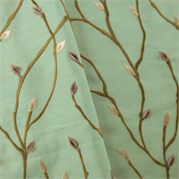 *9 1/2 YD PC - Dusty Teal/Multi Floral Bud Embroider Shantung Drapery Fabric