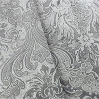 *6 Yard Piece -Gray Chenille Floral Damask Home Decorating Fabric