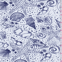 *3 YD PC--White/Indigo Seashell Print Rayon Jersey Knit
